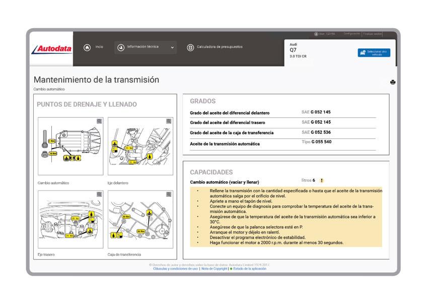 Autodata. Información técnica de los vehículos 1